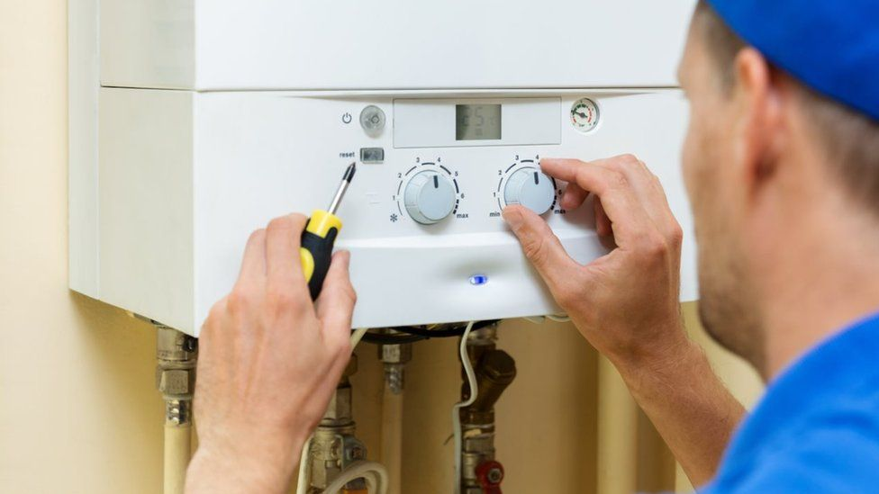 Central gas heating boiler at home - stock photo