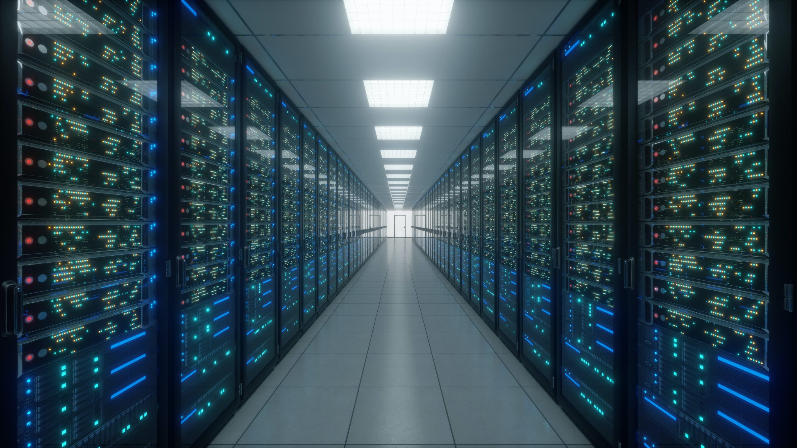A long corridor with rows of digital storage devices either side.