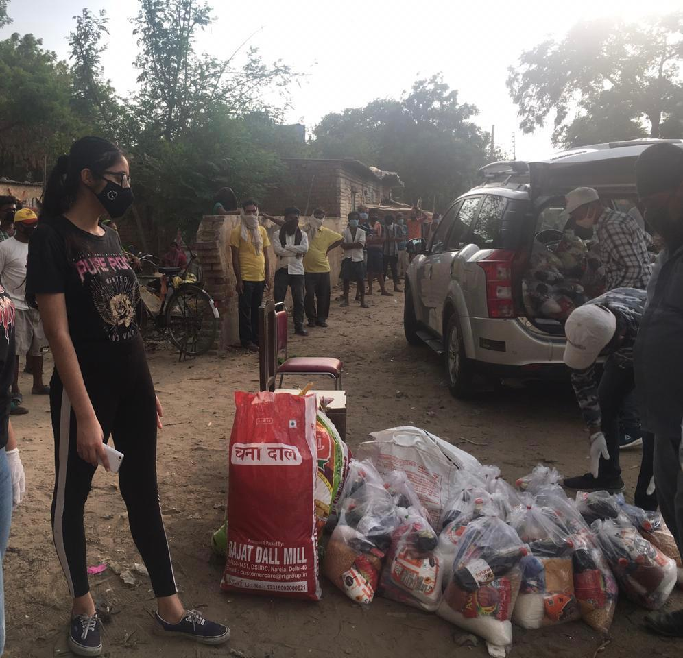 Organising a food distribution at a settlement in Gurgaon, near New Delhi on June 29, 2020.