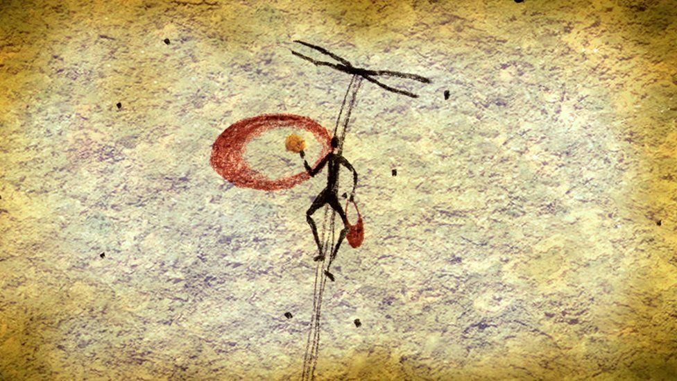 Cave painting believed to show honey gathering, using smoke from a burning brand to make the bees docile